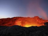 Lava Lake Illuminating Walls of Pit Crater at Night  Erta Ale Volcano  Danakil Depression  Ethiopia