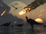 Hadrosaurs Graze Peacefully as Burning Meteors Fall Through the Sky