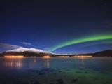 Aurora over Tjeldsundet and Sætertinden Mountain in Norway