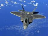 A US Air Force F-22 Raptor in Flight Near Guam