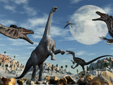 A Lone Camarasaurus Dinosaur Is Confronted by a Pack of Velociraptors