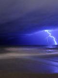 A Bolt of Lightning from an Approaching Storm in Miramar  Argentina
