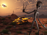 Grey Aliens at the Site of their UFO Crash