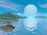 Illustration of a Hypothetical Idyllic Landscape on a Distant Alien Planet