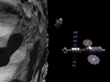 A Manned Maneuvering Vehicle Descends Toward the Surface of a Small Asteroid