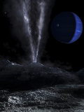 A Small Geyser on the Surface of Triton  with Neptune in the Background