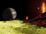 Volcanic Activity on Jupiter's Moon Io  with the Planet Jupiter Visible on the Horizon
