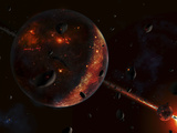 A Scene Portraying the Early Stages of a Solar System Forming