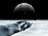 A Crescent Jupiter and Volcanic Satellite  Io  Hover over the Horizon of the Icy Moon of Europa