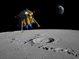 A Lunar Lander Begins its Descent to the Moon's Surface