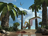 A Pterosaur Flying Reptile Lands Next to Some Carrion