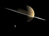 Artist's Concept of Saturn and its Moons Dione and Tethys
