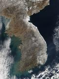 Satellite View of Snowfall Along South Korea's East Coast