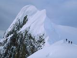 Climbers on Summit Ridge of Mt Scott after Climbing from Sea Level  Antarctic Peninsula  Antarctica