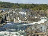 Panoramic of Potomac River Rushing Through Rocks at Great Falls