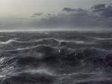 Windstorm over Ocean in Beagle Channel  Tierra Del Fuego  Argentina