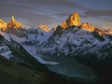 Cerro Torre and Fitzroy  Dawn  Loma Pelique Tumbado  Los Glaciares Nat'l Park  Patagonia  Argentina