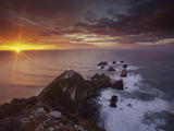 Nugget Point Lighthouse at Sunrise  South Island  New Zealand