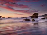 Sunset on Beach North of Punakaiki  Paparoa National Park  New Zealand