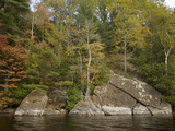 Autumn Color and Large Cracked Boulders on the Shore of Long Pond