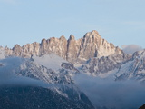 Mount Whitney Covered in Snow and Low Clouds