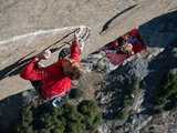 Without a Rope  a Climber Scales a Route on El Capitan