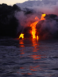 Glowing Lava Flowing into the Sea