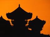 Silhouette of Japanese Temple Papier Photo par Charles O'Rear