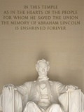 Statue and Inscription at Lincoln Memorial