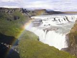 Rainbow over Gulfoss Waterfall