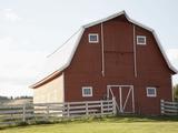 Barn in rural landscape