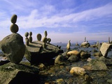Balanced Rocks Along Seawall  Stanley Park  Vancouver  British Columbia  Canada