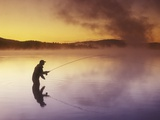 Fly-fishing at Dawn on 108 Mile Lake  British Columbia  Canada