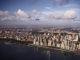 Western view of New York City and Hudson River in late afternoon Papier Photo par Cameron Davidson