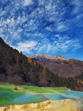 Limestone terraces in Huanglong Scenic Area in China