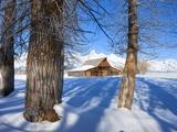 Barn below Teton Range in winter