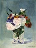 Fleurs dans un vase de cristal Papier Photo par Edouard Manet