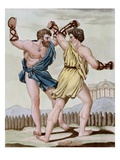 Color Print from Engraving Showing Gladiators Boxing by Jacques Grasset de Saint-Sauveur and LF L
