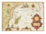 Map of Eastern Africa by Arnold Florent van Langren after Jan Huygen van Linschoten