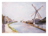A Riverside Village with Windmills
