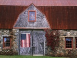 Flag Hanging on Barn Door