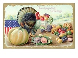 Thanksgiving Greetings with a Turkey and Fruit