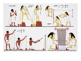 Illustration of Egyptian Frescoes of Spinning Thread and Weaving by Frederic Cailliaud