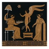 19th Century Greek Vase Illustration of Eros with Two Courtesans