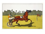 Print of a Trotting Pony Pulling a Racing Cart by Charles Olncelin