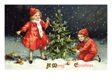 A Merry Christmas with Two Children Decorating Tree