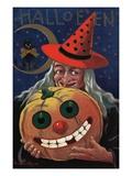 Witch Holding a Pumpkin