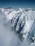 Snow-Covered Rugged Mountain Ridges