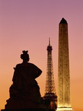 Obelisk of Luxor and Eiffel Tower