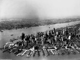 Aerial of Lower Manhattan and Hudson River